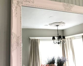 Pink Farmhouse Mirror, Bathroom Vanity Mirror, Ornate Mirror, Farmhouse Vanity