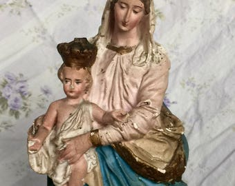 Lovely Old French Notre Dame de Victoire Madonna Chalkware Statue 1800s