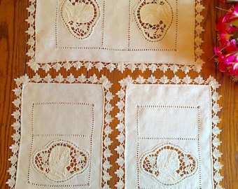 Antique Doily Set of Three Figural Doilies with Crochet Lace Trim Beautiful Table Linens