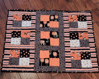 "Handmade, Quilted Table Runner, Fall table runner, Halloween Table runner, 31"" x 24.5"""