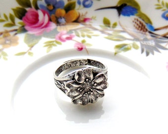 SILVER RING Art Nouveau Flower Ring Band - Antique Silver Adjustable Statement Ring (RC-1)