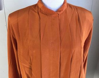 Vtg ANNE KLEIN Top Blouse Pleated Silky Sheen Padded Shoulders Rust Orange Sz 16