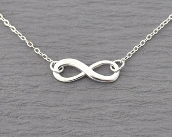 Shiny Silver infinity Necklace, everyday Necklace, infinity jewelry, everlasting lover, enternity, gift for BFF
