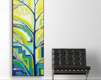 Tree Song no. 20 Pinetop's Boogie Woogie (20x60) original painting on canvas by Kristi Taylor