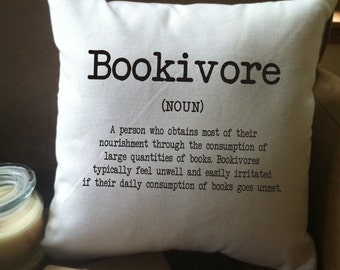 Bookivore definiton throw pillow cover