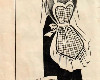 1940s Mail Order 3188 Vintage Sewing Pattern Misses Half Apron, Hostess Apron, Tea Apron, Full Apron, Heart Apron Size 16