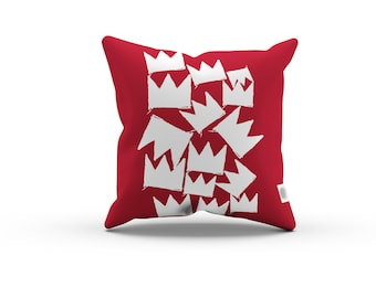 Art Series: Jean-Michel Basquiat's Crown Pillowcase w/Stuffing - Red pillow / Home decor / Abstract pillow