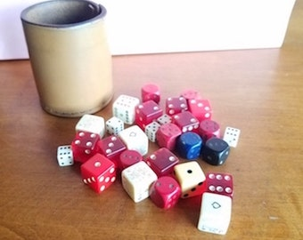 Vintage Leather Can of Dice of all Sizes
