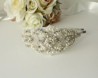 Rhinestone and Pearl Bridal Headband / Rhinestone Bridal Headpiece / Bridal Headband / Bridal Headpiece / Rhinestone Headband / SQH-2