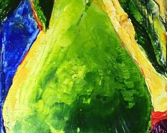 Green Pear 8x6x1 3/4 Inch Original Oil Painting by Paris Wyatt Llanso FREE SHIPPING