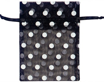 3 x 4  Black Organza Bags with White Dots (10)