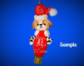 Tan and White Shih Tzu Santa Dog shaded ears Christmas Holidays Light Bulb Ornament Sally's Bits of Clay PERSONALIZED FREE with dog's name