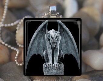 GARGOYLE MOON STATUE Gothic Goth Halloween Bat Glass Tile Pendant Necklace Keyring design 1
