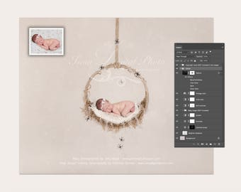 Halloween hanging circle design - Digital Photography Backdrop /Props for Newborn Photography - psd with Layers