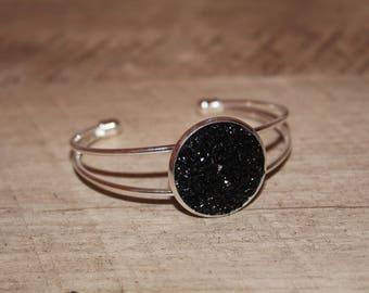 Black Druzy Cuff Bracelet