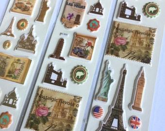 Sticker set vintage stamps sights (A1081)