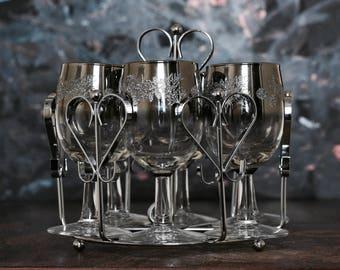 Silver Ombre Wine Glasses, Ice Bucket, Chrome Caddy, Mid Century Barware, 1960s