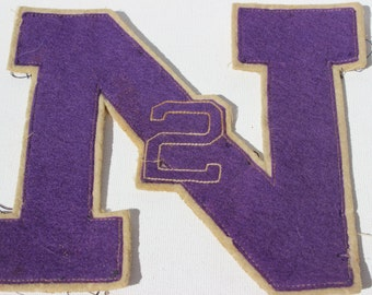 Vintage Letterman Jacket  Letter N 2 Purple Felt North Athletic High School or College Letter