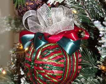 """5"""" Quilted Ribbon Christmas Ball Ornament - Home Decor - Holiday Decor - Christmas Tree Ornament - Ribbon Ornament - Tree Decor - Quilted"""