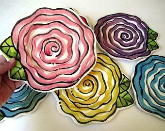 Handmade Rose Small pottery plate original design by Artzfolk