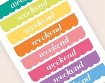16 Wochenende Banner Sticker, Flagge Aufkleber, Sticker, Flaggen, Aufkleber, Eclp Filofax glücklich Planer Kikkik vertikale
