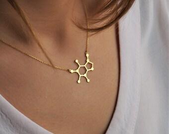 Caffeine Necklace -Sterling Silver  Caffeine Molecule, Science Jewellery, Chemistry Jewellery, Gift for her, Molecule necklace Jewelry