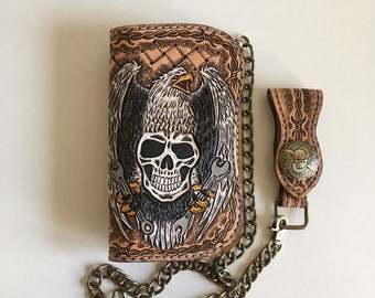 Biker wallet handmade tooled leather (16cm) motif: Eagle and skull