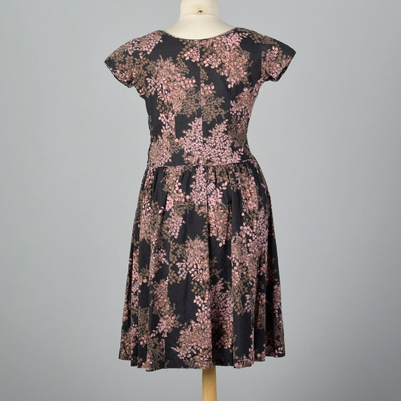 50s Dress Waist 1950s Vintage Short Sleeves Spring Brown Dress Floral Floral Day Pink Drop Black Cotton 2XL Print Summer dY8qxTnT