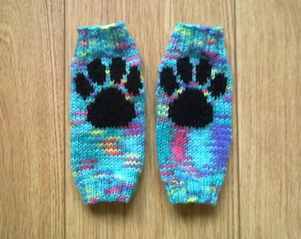 Paw print wrist warmers - green turquoise yellow purple pink mix - fingerless gloves