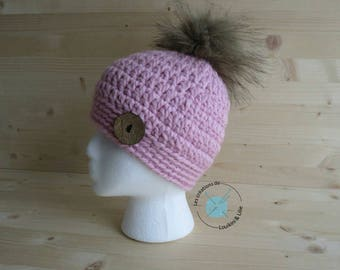 Winter hat in thick wool hat with large Pompom knit chunky Beanie, oversized, chunky hat Beanie, adult