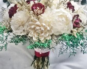 Wine Burgundy Sola Eucalyptus Wedding Flower Bouquet, Cranberry Ivory Sola Bouquet, Sola Flowers,Keepsake Bouquet,Forever Floral Alternative