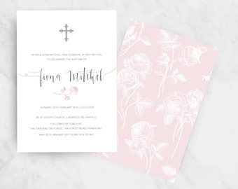 Dusty Roses Christening Invitation | Pink Baptism Invitation