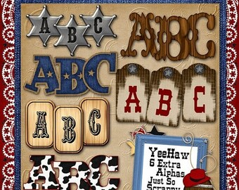 On Sale 50% Off Alphabets - Yee Haw Digital Scrapbook Kit Extra Alphabets - Digital Scrapbooking