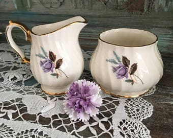 Lovely lilac rose sugar bowl/creamer vintage sadler set