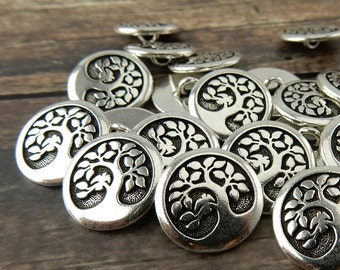 Bird in a Tree Buttons, Qty 4 to 20 Tierracast Metal Buttons, 16mm Antique Silver, Round Shank Button, Great Leather Wrap or Focal Clasps
