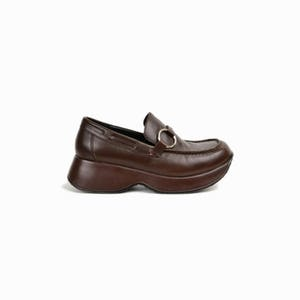 Vintage 90s Brown Platform Loafers with Ring Buckles / Brown Leather Shoes  / 90s Steve Madden