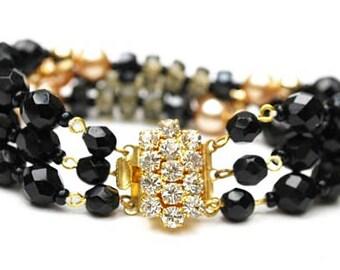 Rhinestone Bead Bracelet - Triple strand -  Black Glass Rhinestone Clasp - Glass bead - pearl gold