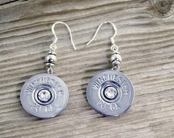 Bullet Earrings / Nickel Shotgun Shell Dangle Earrings WIN-#-NNB-DBE / Shotgun Earrings / Shotgun Shell Earrings / Nickel Earrings / Custom