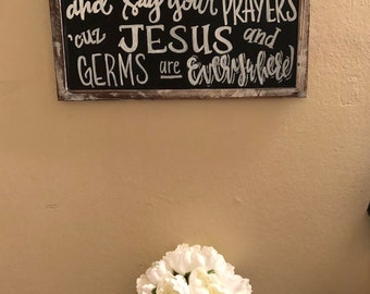 Chalkboard sign handwritten with the quote, bible verse or message of your choosing, rustic wooden frame