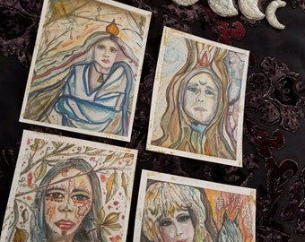 GODDESS RISING, art altar cards, rituals, divination, spells, magic, alchemy, Witch, wiccan, pagan, Divine Feminine, psychic, energy, tarot