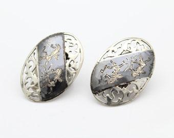 Vintage Siam Sterling Silver Niello Pierced Openwork Dancing Lady Clip Earrings. [7181]