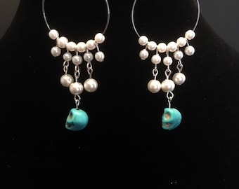 Pearl and skull hoops