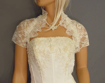 Ruffle Lace bolero jacket wedding shrug bridal short sleeve cover up LBA304 AVAILABLE IN ivory and 2 other colors small through plus size!