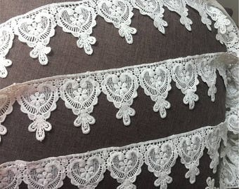 "Clothing Embroidery Trimmings Venice Lace Trims Bobbin Lace 7cm 2.7"" Off-white Bridal Wedding Dress Lace Trimming BYDC170"