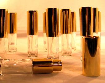 Small 5ml (1/6oz) Glass Sprayer Bottle with Golden Atomizer Fine Mist Pump
