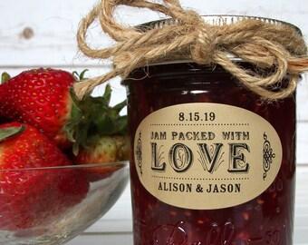KRAFT Oval Jam Packed With Love jam jar labels, custom wedding favor stickers for Ball mason jars, bridal shower favors & canning jar labels