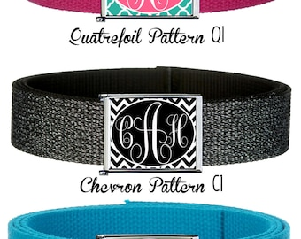 Custom Monogram Belt Buckle with Web belt