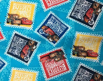 Cars The Movie Fabric Lightning McQueen Postage Stamps Blue Disney Fabric Postal Mater Cotton Quilting Apparel Fabric r10,8