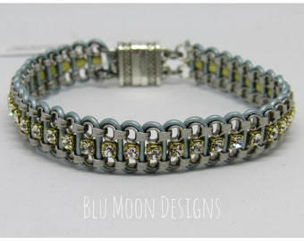 Leather and Chain Sparkle Bracelet