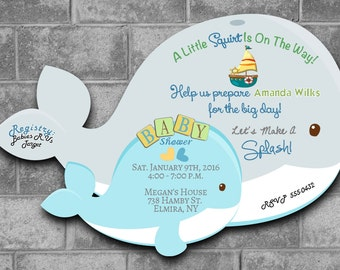 Whale Baby Shower Invitations, Nautical Baby Shower Invitations Sailor Baby Shower Invitation Whale Shower Baby Shower Whale Theme